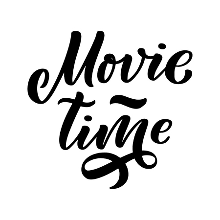 Movie Time lettering in calligraphy style on white background. Graphic design illustration. Hand drawing slogan. Template for Online Cinema. Vector