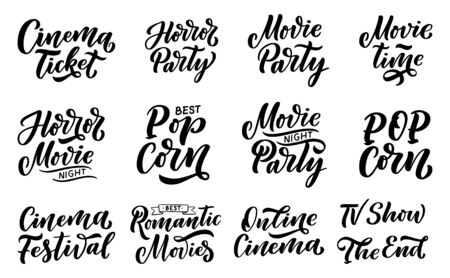 Movie lettering set in calligraphy style on white background. Graphic design illustration. Hand drawing slogan. Template for Online Cinema. Vector Banque d'images - 125292677