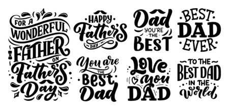 Lettering for Fathers day greeting card, great design for any purposes. Typography poster. Vector illustration.