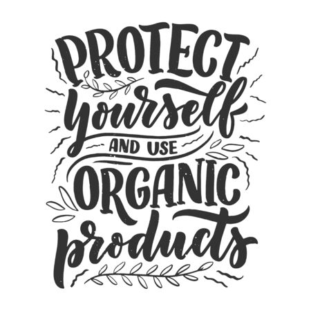 Organic skin care phrase concept banner. Natural cosmetic slogan for presentation or website. Isolated lettering typography product ide. Vector illustration Vetores