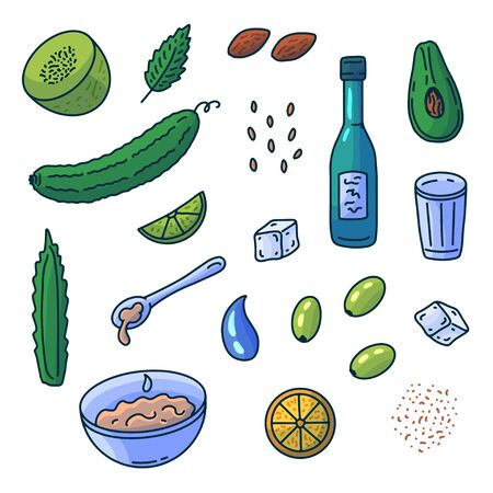 Cartoon collection of products for natural cosmetic. Healthy Beauty skin care. Organic doodle elements. Vector illustration