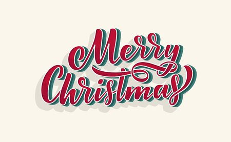 Merry christmas lettering in hand drawn 3D style. Classic retro symbol. New year holiday greeting card. Vector illustration design.