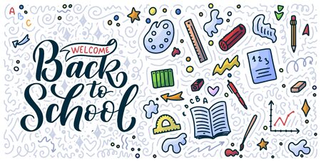 Welcome back to school lettering quote and doodle background. Template for sale tag. Hand drawn badge. Education concept Typography emblem. illustration Stok Fotoğraf