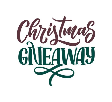Vintage card with christmas giveaway lettering. Calligraphy text. Decoration template. Vector banner for holiday design. Vector Illustration