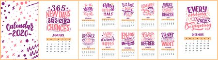Modern typography lettering compositions. 2020 calendar with funny motivation quotes. Hand drawn colorful illustrations. Trendy slogan, vector graphic Çizim