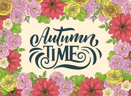 Hello autumn. Hand drawn calligraphy and brush pen lettering. design for holiday greeting card and invitation of seasonal autumn holiday. Vector
