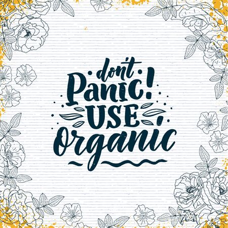 Organic skin care phrase concept banner. Natural cosmetic slogan for presentation or website. Isolated lettering typography product ide. Vector illustration