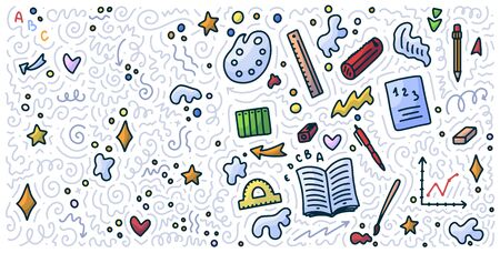 Welcome back to school doodle background. Template for sale banner. Hand drawn elements. Education concept. Typography emblem. 스톡 콘텐츠