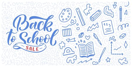 Welcome back to school lettering quote and doodle background. Template for sale tag. Hand drawn badge. Education concept. Typography emblem. 스톡 콘텐츠