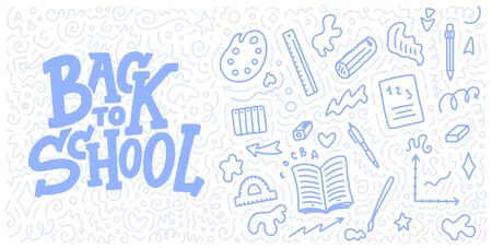 Welcome back to school lettering quote and doodle background. Template for sale tag. Hand drawn badge. Education concept. Typography emblem. 스톡 콘텐츠 - 128800371