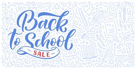 Welcome back to school lettering quote and doodle background. Template for sale tag. Hand drawn badge. Education concept. Typography emblem. 스톡 콘텐츠 - 128800374