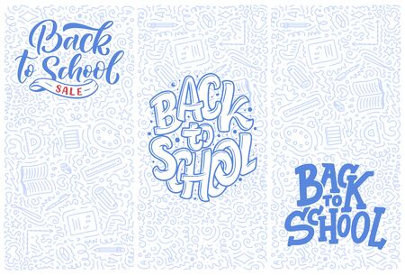 Welcome back to school lettering quotes and doodle backgrounds. Template for sale tag. Hand drawn banners. Education concept. Typography emblems.