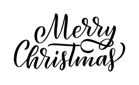 Merry christmas lettering in hand drawn style. Classic retro symbol. New year holiday greeting card. Vector illustration design. Çizim