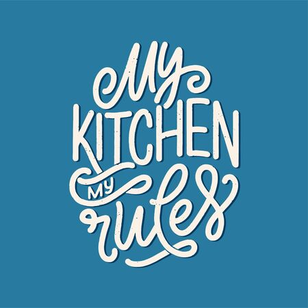Vector card with hand drawn unique typography design element for greeting cards, decoration, prints and posters. Handwritten lettering quote about food and cooking. Ilustração