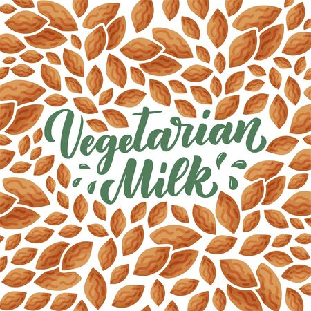 Almond milk lettering for banner, logo and packaging design. Organic nutrition healthy food. Phrase about dairy product. Vector illustration