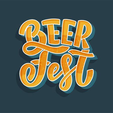 Oktoberfest beer festival logo or banner design. Holiday decoration and funny lettering print. Concept autumn advertising. Vector illustration