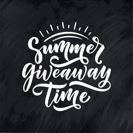 Vintage card with summer giveaway lettering. Calligraphy text. Decoration template. Vector banner for holiday design.