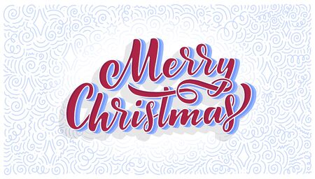 Merry christmas lettering in hand drawn style. Classic retro symbol. New year holiday greeting card. Vector illustration design. Ilustração