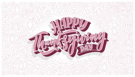 Illustration with lettering for Thanksgiving Day. Typographic design. Greeting card template. Autumn concept. Vector