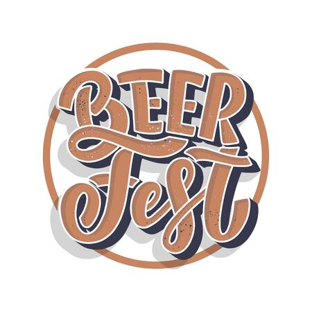 Oktoberfest beer festival banner design. Holiday decoration and funny lettering print. Concept autumn advertising. Vector illustration  イラスト・ベクター素材