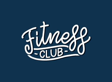Abstract lettering about fitness for poster or print design. Healthy lifestyle. Modern calligraphy for business sport concept. Handwritten letters. Typography funny quote. Vector illustration
