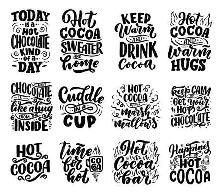 Set met belettering citaten over warme chocolademelk en warme chocolademelk voor posters of prints. Handgetekende kerstborden voor café, bar en restaurant. vector illustratie