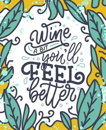 Wine lettering composition in modern style. Alcohol beverage bar drink concept. Vintage typography for print or poster. Vector Stock Illustratie