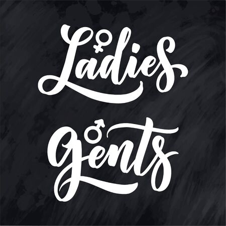 Ladies and Gents, men and women toilet signs - hand lettering patches, icons. Vector