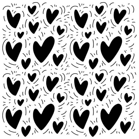 Doodle pattern for print design with sketch hearts. Abstract geometric background. Cute fabric texture for modern graphic design. Vector illustration