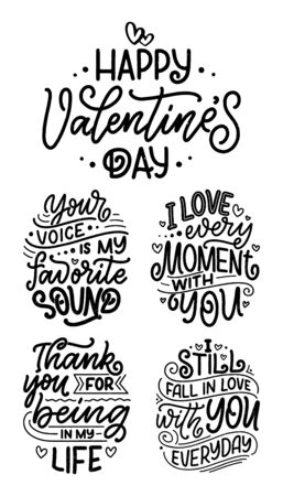 Set with slogans about love in beautiful style. Vector illustration. Abstract lettering compositions. Trendy graphic design for prints and cards. Motivation posters. Calligraphy text for Valentines Day. Stock Illustratie