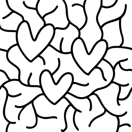 Seamless pattern for print design with sketch hearts. Abstract geometric background. Cute fabric texture for modern graphic design. Vector illustration