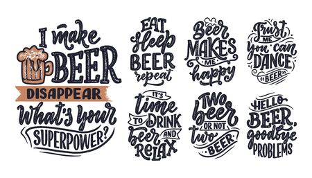 Set with lettering quotes about beer in vintage style. Calligraphic posters for t shirt print. Hand Drawn slogans for pub or bar menu design. Vector