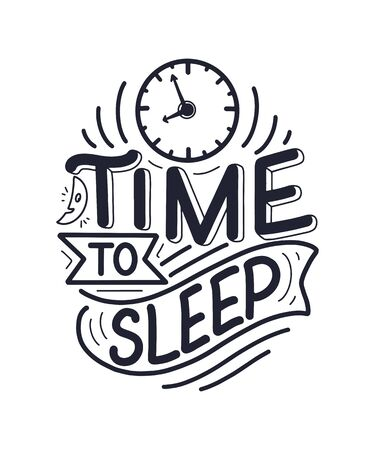 Lettering Slogan about sleep and good night. Vector illustration design for graphics, prints, posters, cards, stickers and other creative uses Foto de archivo - 136945129