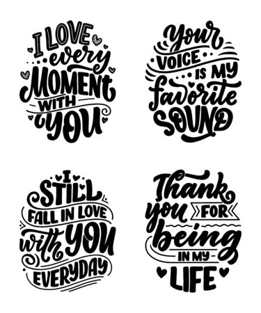 Set with slogans about love in beautiful style. Vector illustration. Abstract lettering compositions. Trendy graphic design for prints and cards. Motivation posters. Calligraphy text for Valentines Day. Ilustração
