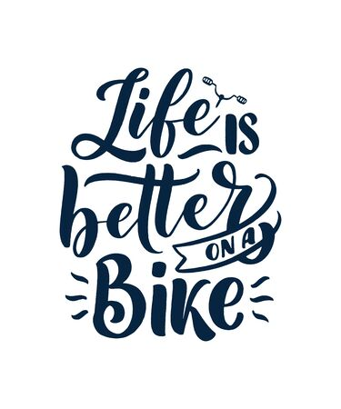 Lettering slogan about bicycle for poster, print and t shirt design. Save nature quote. Vector vintage illustration