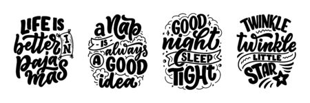 Lettering Slogan about sleep and good night. Vector illustration design for graphics, prints, posters, cards, stickers and other creative uses Foto de archivo - 137732445