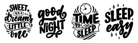 Lettering Slogan about sleep and good night. Vector illustration design for graphics, prints, posters, cards, stickers and other creative uses Stok Fotoğraf - 137894322