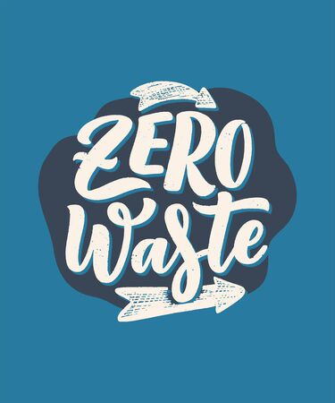 Lettering slogan about waste recycling. Nature concept based on reducing waste and using or reusable products. Motivational quote for choosing eco friendly lifestyle. Vector illustration
