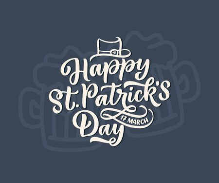 St. Patrick's Day quote, typography greeting card template. Lettering slogan for print, t-shirt, festive design element. Vector illustration