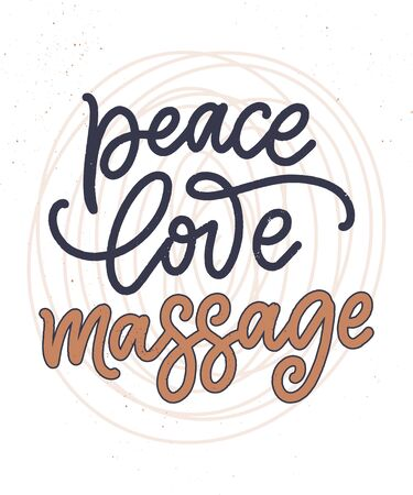 Fun slogan about massage. Lettering typography quote. Hand drawn inspirational, motivational poster. Cosmetology print, badge, tag. Vector illustration