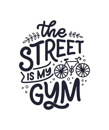 Lettering slogan about bicycle for poster, print and t shirt design. Save nature quote. Vector illustration Ilustracja