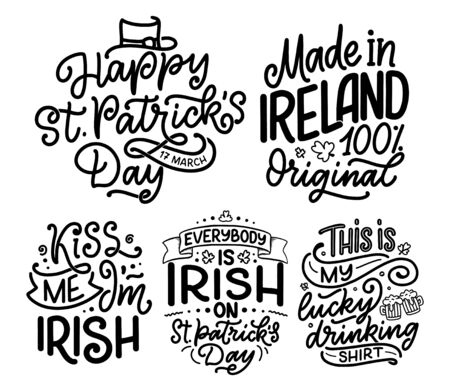 Set with St. Patricks Day quotes, typography greeting cards template. Lettering slogans for print, t-shirt, festive design element. Vector illustration