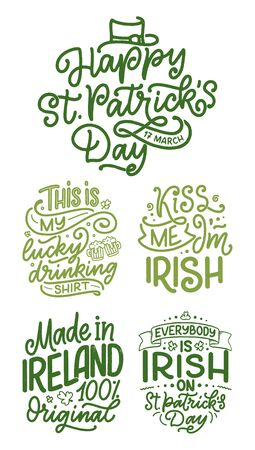 Set with St. Patrick's Day quotes, typography greeting cards template. Lettering slogans for print, t-shirt, festive design element. Vector illustration