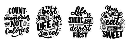 Set mit lustigen Sprüchen, inspirierenden Zitaten für Café- oder Bäckereidruck. Geprägtes Band und Pinselkalligraphie. Dessert-Schriftzug-Slogans im handgezeichneten Stil. Vektor-Illustration Vektorgrafik