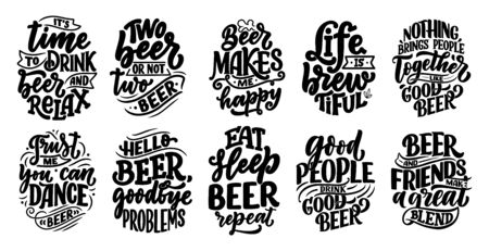 Set with lettering quotes about beer in vintage style. Calligraphic posters for t shirt print. Hand Drawn slogans for pub or bar menu design. Vector illustration