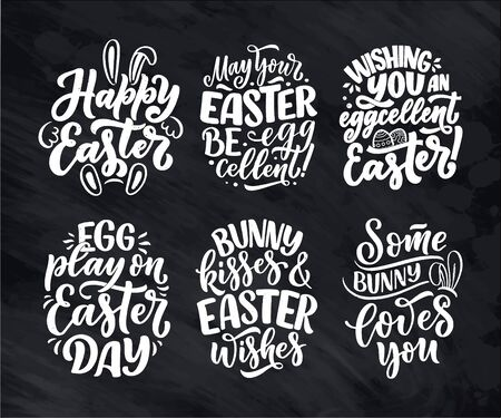 Set with calligraphy lettering slogans about Easter for flyer and print design. Vector illustration. Template banner, poster, greeting postcard.