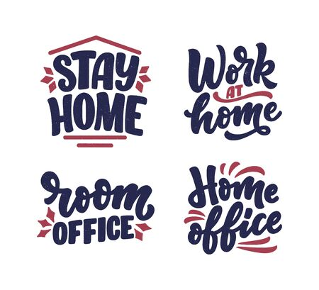 Set with lettering slogans about stay home, typography posters with text for self quarine time. Hand drawn motivation card design. Vintage style. Vector illustration