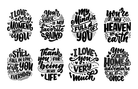 Set with slogans about love in beautiful style. Vector illustration. Abstract lettering compositions. Trendy graphic design for prints and cards. Motivation posters. Calligraphy text for Valentines Day. Ilustrace