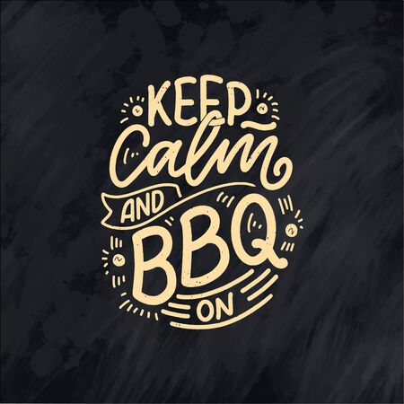 Bbq fun slogan, great design for any purposes. Lettering for family dinner design. Funny print, poster and banner with phrase about barbeque. Summer card. Vector illustration Illustration