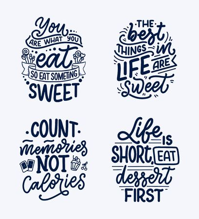 Set with funny sayings, inspirational quotes for cafe or bakery print. Embossed tape and brush calligraphy. Dessert lettering slogans in hand drawn style. Vector illustration Ilustrace